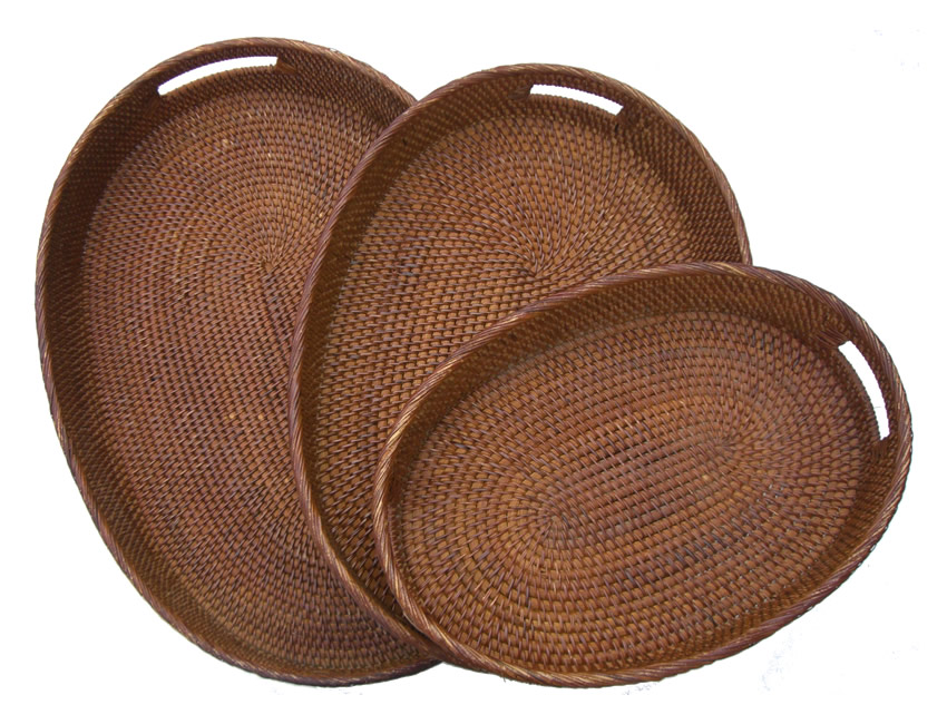 Beautiful Rattan Oval Handled Tray   Large Pictures