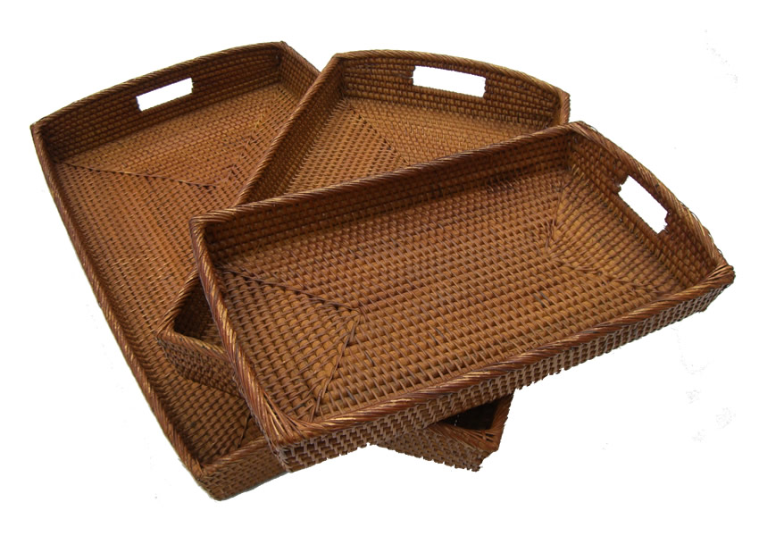 Trays Co Uk Rattan Rectangular Curved Handled Tray